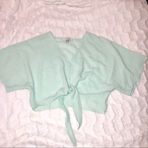 Mint green tie up blouse